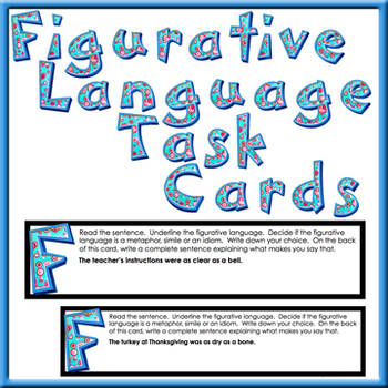 Figurative Language Task Cards 30 cards with metaphors, similes or idioms