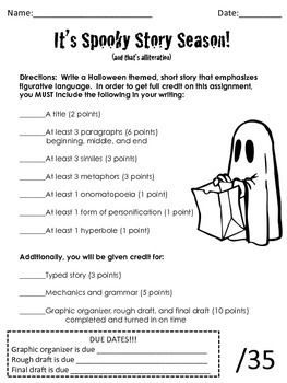 Halloween Figurative Writing Project