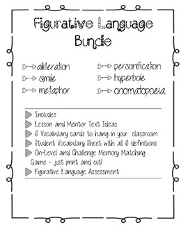Figurative and Poetic Language Bundle - Lesson Ideas, Games, and Assessment