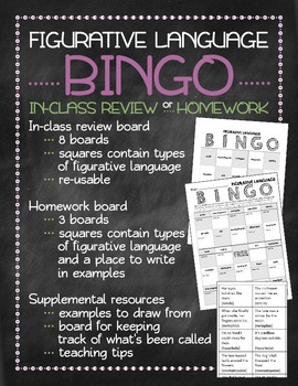 Figurative language Bingo game