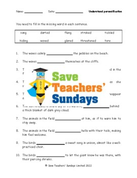 Figurative language - Personification, Similes and Metaphors Worksheets
