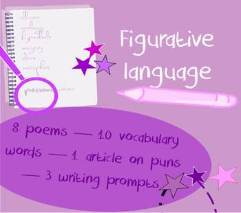 Figurative language in poetry packet - vocabulary list & poetry collection