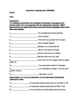 Figurative language quiz for junior high
