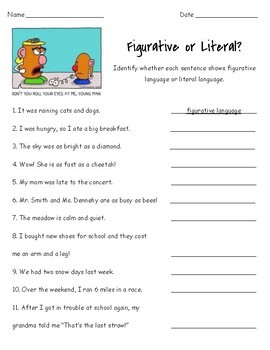 Figurative or Literal? Worksheet