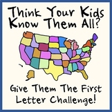 Figure Out US States and Capitals Given First Letters Only Worksheet