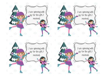 Figure Skating Girls Christmas Thank You Cards