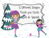 Figure Skating Girls Christmas Thank You Cards
