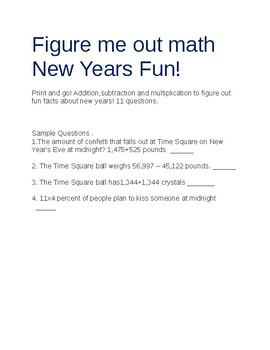 Figure me out New Years Fun math!