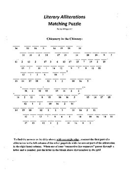 Figure of Speech,Alliteration,Literary Alliterations Matching Puzzle,high school