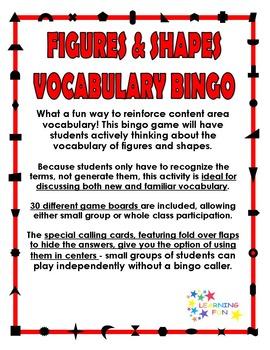 Figures & Shapes Vocabulary Bingo