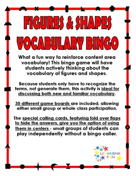 Figures & Shapes Vocabulary Bingo