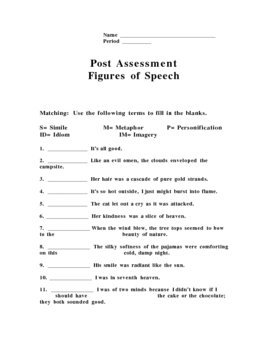 Figures of Speech Pre/Post Assessment by Patrick Johnson | TpT