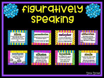 Figures of speech ~ posters ~ QR code task cards