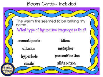Figures of speech ~ posters ~ QR code task cards