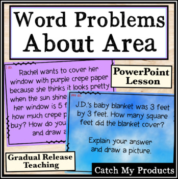 Word Problems Involving Area of Rectangles Power Point for Bright Students