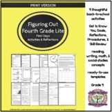 Figuring Out Fourth Grade: First Weeks' Activities and Reflections (Lite)