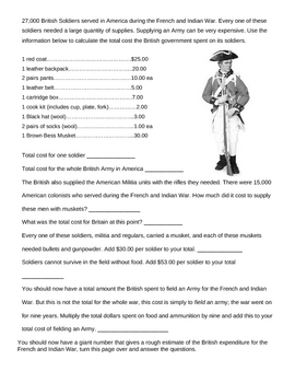 The French and Indian War (1754-1763) Worksheet - Seven Years' War ...