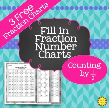 Fil in Fraction Number Charts for ½ Freebie