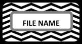 File Cabinet Labels - Black Chevron