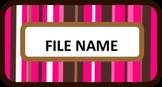 File Cabinet Labels - Pink and Brown Stripes