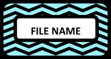 File Cabinet Labels - Teal and Black Chevron