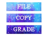 File, Copy, & Grade Labels - Galaxy Themed