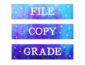 File, Copy, & Grade Labels - Galaxy Themed