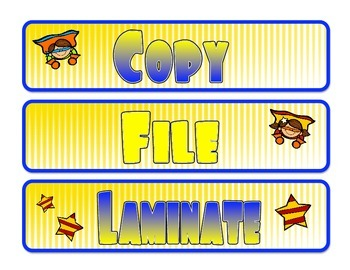 File, Copy, Laminate drawer labels