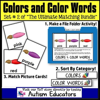 File Folder Activities For Special Education: MATCHING COLORS and COLOR WORDS #2