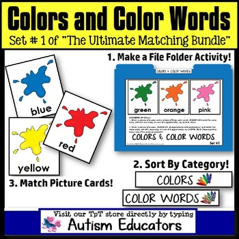 File Folder Activities For Special Education: MATCHING COLORS and COLOR WORDS #1