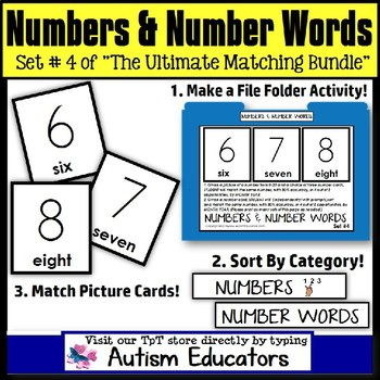 File Folder Activities For Special Education: NUMBERS and NUMBER WORDS  #4 and 5