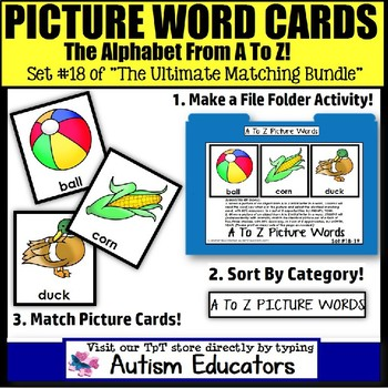 File Folder Activities For Special Education: PICTURE MATCH A TO Z
