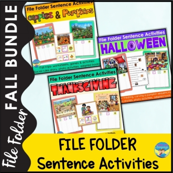 File Folder Activities and Adapted Books for Special Education Fall Bundle