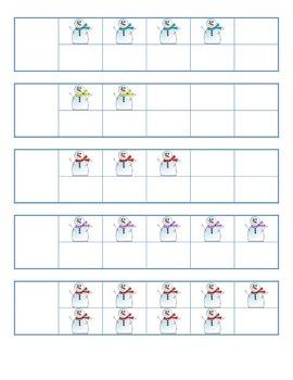 File Folder Activity 1-10 Ten Frames (Snowmen)