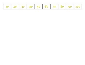 File Folder Activity 100-chart Missing Multiples of 10 (Yellow)