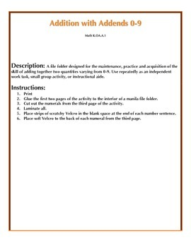 File Folder Activity Addition Addends 0-9 (Halloween Theme)