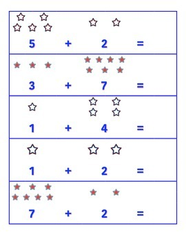 File Folder Activity Addition Addends 0-9 (Patriotic Stars Theme)