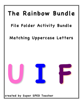 File Folder Activity Bundle--Match Uppercase Letters Rainbow Bundle