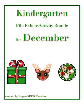 File Folder Activity Bundle for December (Christmas Theme)