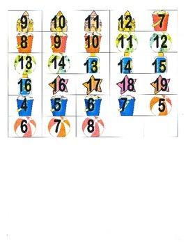 File Folder Activity Count Forward 0-20 (Beach Theme)