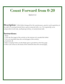 File Folder Activity Count Forward 0-20 (Christmas Theme)