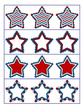 File Folder Activity Following & Preceding Numbers 1-20 (Patriotic Stars Theme)