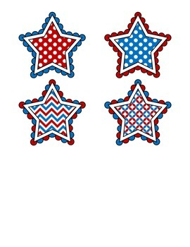 File Folder Activity Match Identical Pictures (Patriotic Stars)