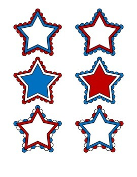 File Folder Activity Match Identical Pictures (Patriotic Stars)
