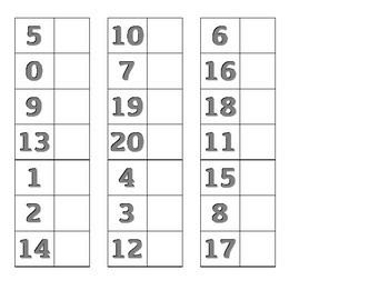 File Folder Activity Match Numerals 0-20 (Gray)