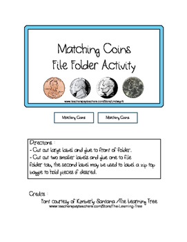 File Folder Activity - Matching Coins