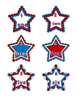 File Folder Activity Number Words 1-10 (Patriotic Stars Theme)