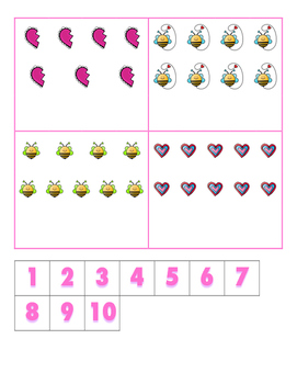File Folder Activity Number to Quantities 1-10 (Valentine's Theme)
