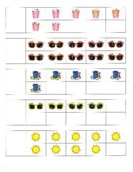 File Folder Activity Number to Quantity 1-10 Ten Frames (Beach Theme)