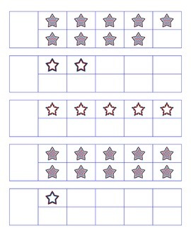 File Folder Activity Number to Quantity 1-10 Ten Frames (Patriotic Stars Theme)